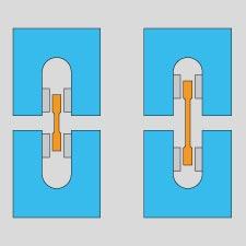 Grafische Zeichnung der Spannbacken für normale und kurz Proben